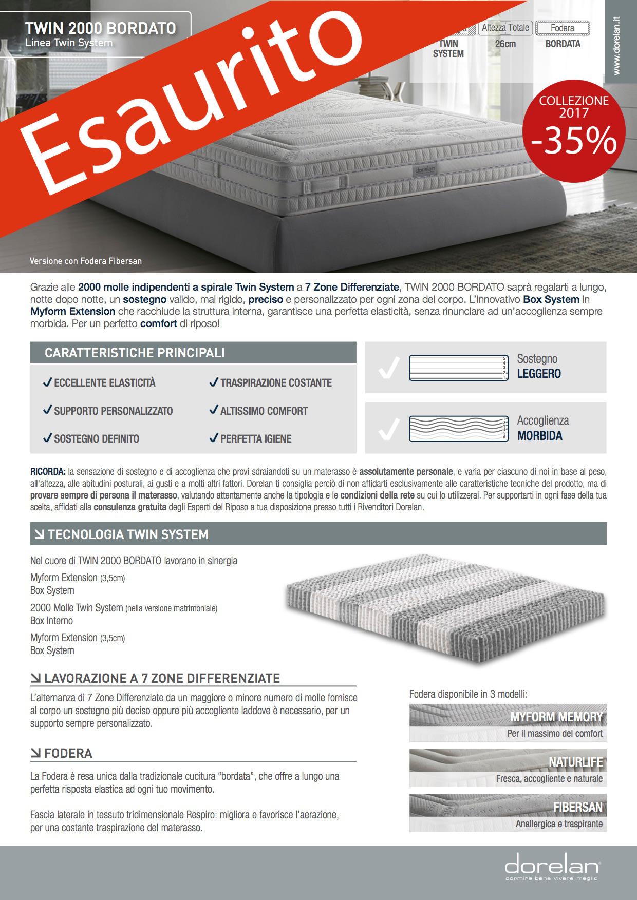 MATERASSI DORELAN TWIN 2000 BO NaturLife Firm 80×190